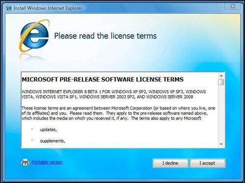 IE8: licença de uso